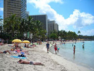 People sunbathing at Waikiki Beach